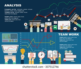 Flat design illustration concepts for business analysis and planning, consulting, team work, project management,financial report and strategy . Concepts web banner and printed materials.