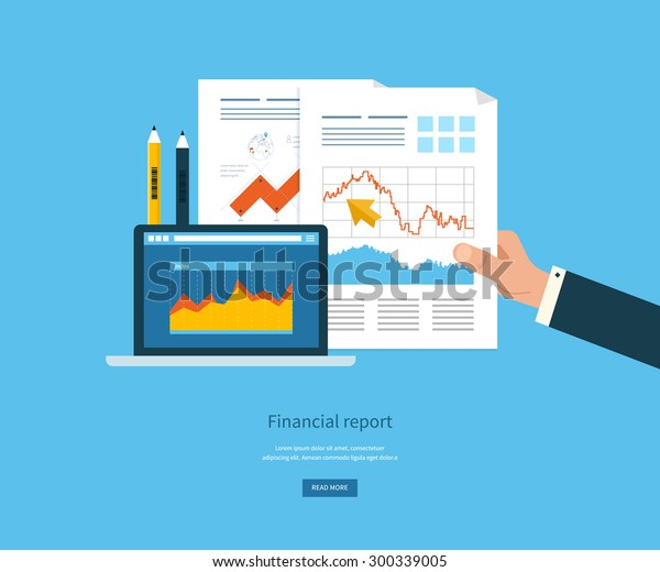 Flat design illustration concepts for business analysis, financial report, consulting, team work, project management and development. Concepts web banner and printed materials.
