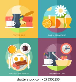 Flat design illustration concepts for coffee time, early breakfast, english breakfast, breakfast time. Concepts web banner and printed materials.