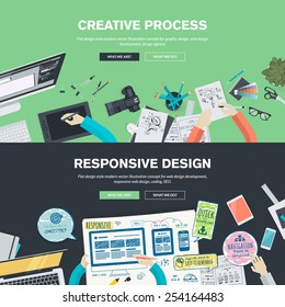Flat design illustration concepts for creative process, graphic design, web design development, responsive web design, coding, SEO, design agency. Concepts web banner and printed materials.