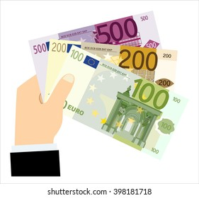 Flat design illustration concepts hand holding 100, 200 and 500 euro banknotes - vector illustration