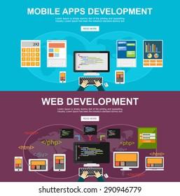 Flat design illustration concepts for mobile apps development, web development,, programming, brainstorm, coding, responsive web design.