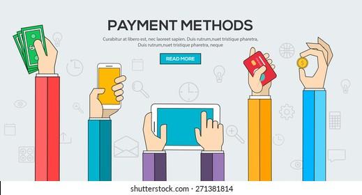 Flat design illustration concepts for Payment Methods. Vector