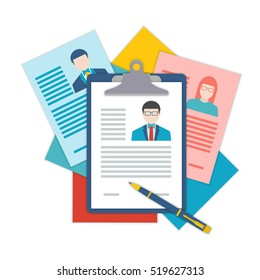 Flat design illustration curriculum vitae recruitment candidate job position. Concepts for human resource and recruitment. Searching cv and profile of employees.