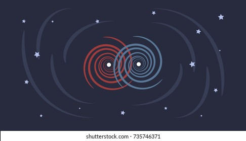 A flat design illustration of Gravitational Waves being produced by merging heavy space bodies as Black Holes or Neutron Stars