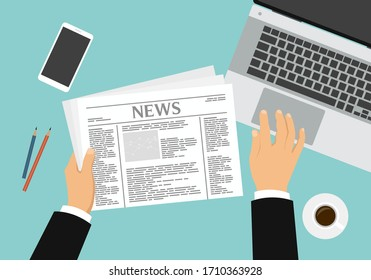 Flat design illustration of the hands of a male manager who reads a newspaper and works on a laptop. Desk with coffee and mobile phone - vector