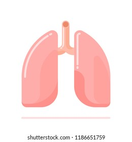 Flat design illustration of healthy human lungs isolated on white