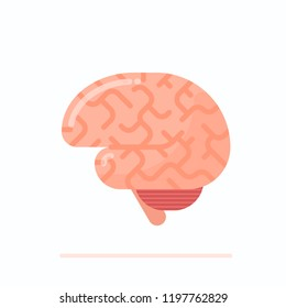Flat design illustration of healthy human brain isolated on white