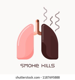 Flat design illustration of healthy and unhealthy human lungs, smoking addiction concept