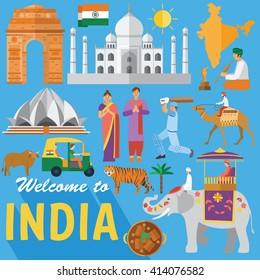 Flat design, Illustration of India landmarks and icons