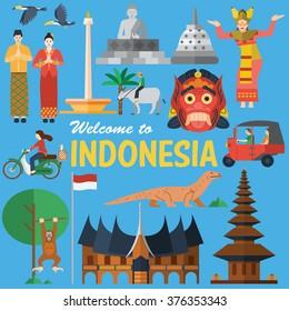 Flat design, Illustration of Indonesia Icons and landmarks