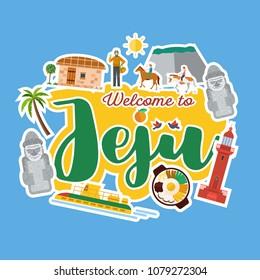 Flat design, Illustration of Jeju Island banner, Vector