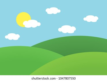 Flat design illustration of landscape with meadow and hill under blue sky with sun and clouds - vector
