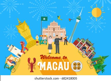 Flat design, Illustration of Macau landmark and icons, Vector