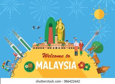 Flat design, Illustration of Malaysia's landmarks and icons