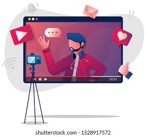 Flat design illustration with male vlogger or influencer, recording new video.