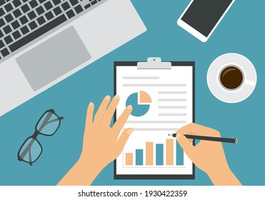 Flat design illustration of man or woman hands writing with pencil on sheet of paper with analysis and financial chart. Laptop and cup of coffee with glasses on green office desk board - vector