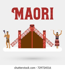 Flat design, Illustration of Maori people and Maori meeting house, Vector