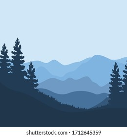 flat design  Illustration mountain landscape