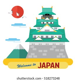Flat design, Illustration of Osaka Castle, vector