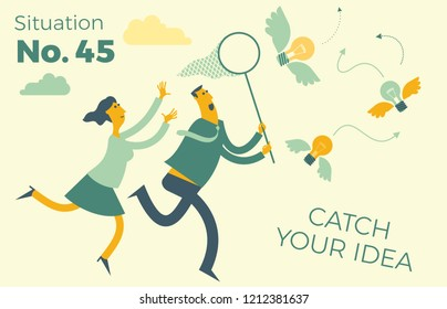 Flat design Illustration for presentation, web, landing page: businessman and woman running and catching flying light bulb ideas.