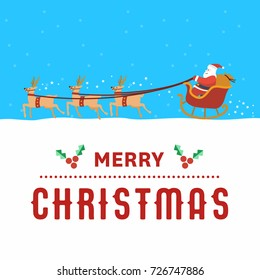 Flat design, Illustration of Santa Claus with sleigh in snowfall, Vector