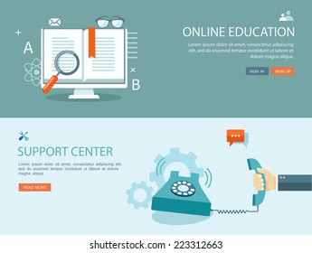 Flat design illustration set with icons and text. Online education and support center. Eps10