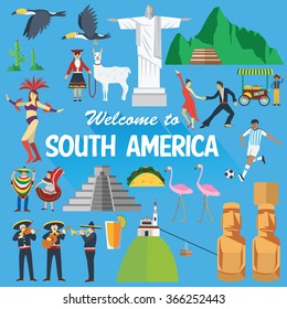Flat design, Illustration of South America landmarks and icons