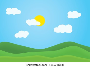 Flat design illustration of summer mountain landscape with green grassy hill under a clear blue sky with white clouds and shining sun - vector