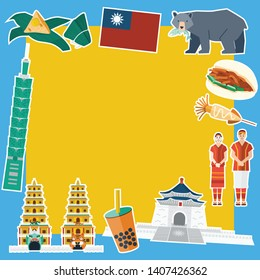 Flat design, Illustration of Taiwan' s landmarks and icons, vector