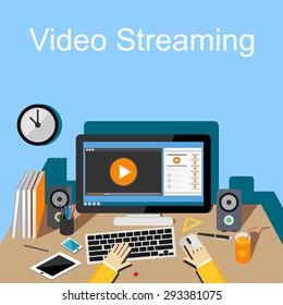 Flat design illustration of  video streaming.