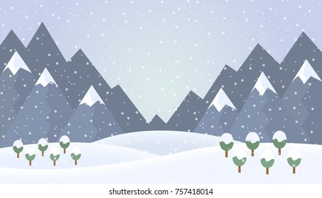 Flat design illustration of winter mountain landscape with trees and snow - vector