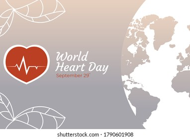 Flat Design Illustration Of World Heart Day Templates, Design Suitable For Posters, Backgrounds, Greeting Cards, World Heart Day Themed
