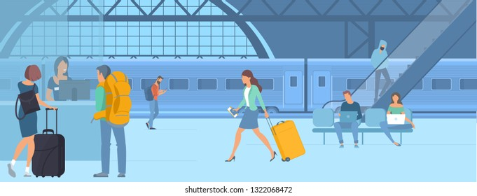 Flat design illustration of young men and women travellers at railway train station  waiting for departure. Webpage promotion and advertising template concept.