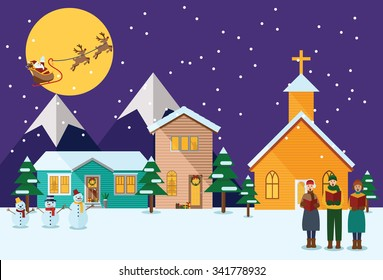 Flat design, Illustration of young people singing Christmas Carols and Flying Santa with reindeer.