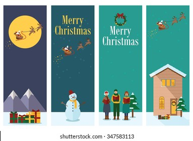Flat design, Illustration of young people singing Christmas Carols, snow man and Flying Santa with reindeer.