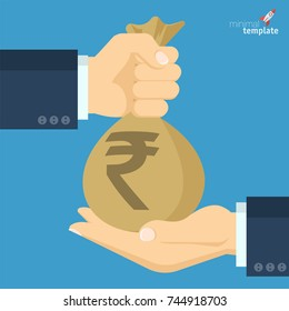 Flat design Indian rupee vector icon for banking, savings, payments and charity. Businessman's hand gives bag of  money.