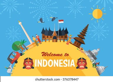 Flat design, Indonesia icons and landmarks with fireworks as a background