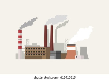 Flat design industrial landscape with factory vector illustration