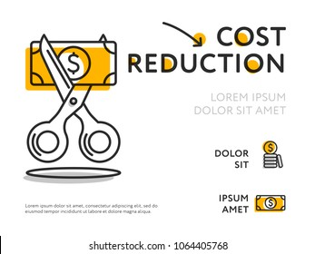 Flat design of infographic poster with scissors cutting money bill showing cost value loss.
