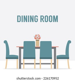 Flat Design Interior Dining Room Vector Illustration