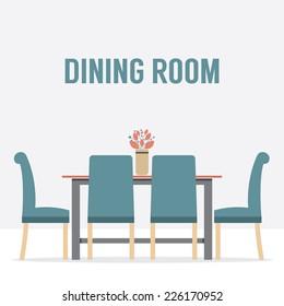 Flat Design Interior Dining Room Vector Illustration