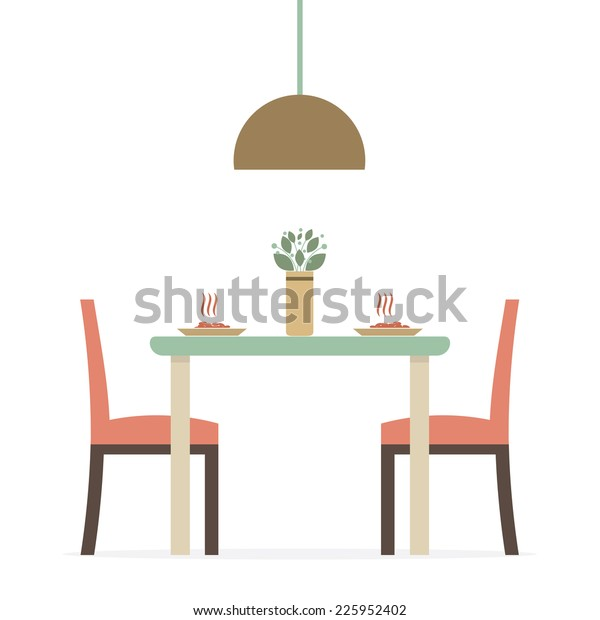 Flat Design Interior Dining Room Vector Stock Vector Royalty Free 225952402