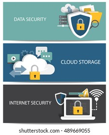 flat design for internet security, cloud storage, cryptography and data exchange protection system. use for web page design, cover page, brochure template, background and banner. vector illustration