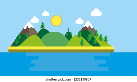 flat design island with bright colors , saturated colors and beautiful design , material design island with mountains and sun with clouds and trees. blue water, vector cartoon illustration, meadows