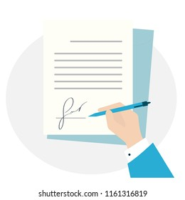 flat design isolated blue. Business man hand signing fictitious fake signature  document vector illustration, person hold contract signed and pen, legal agreement with signature and stamp top view