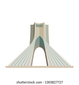 Flat design isolated icon of Azadi Tower at Tehran, Iran