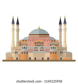Flat design isolated vector icon of the Hagia Sophia mosque, church and museum at Istanbul, Turkey
