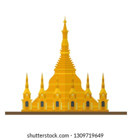 Flat design isolated vector icon of Shwedagon Pagoda, Yangon, Myanmar