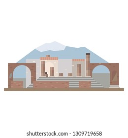Flat design isolated vector icon of Pompeii ruins and Mount Vesuvius at Italy